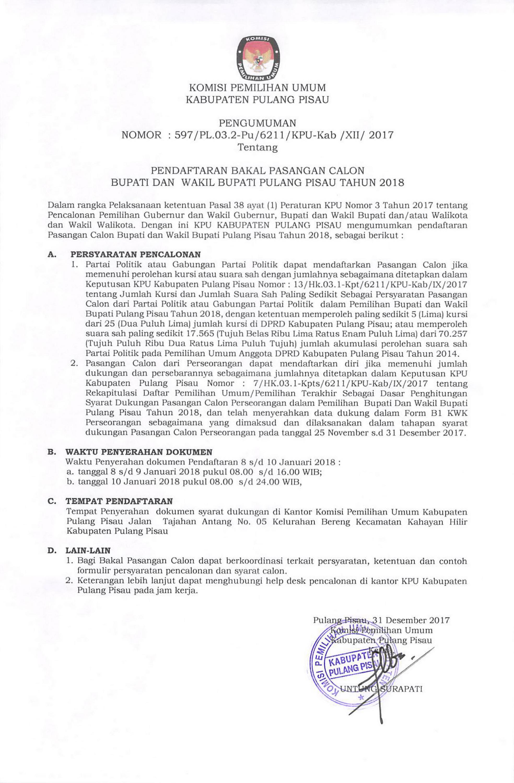Pengumuman Pendaftaran Bakal Pasangan Calon Bupati Dan Wakil Bupati